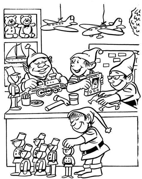 elves workshop coloring pages printable christmas coloring page elves in workshop