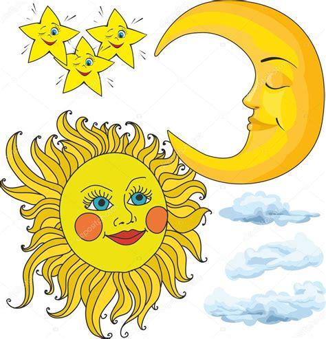 sol luna y estrellas imagui sol y la luna nubes estrellas vector de stock 169 son