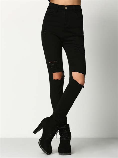 ripped cut knee black cut out knee ripped shein sheinside