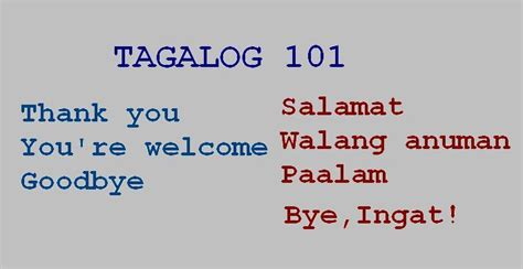 Thank You Letter For Your Tagalog Tagalog Of Thank You You Re Welcome And Goodbye