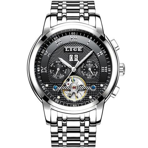 lige jam tangan pria automatic mechanical stainless steel