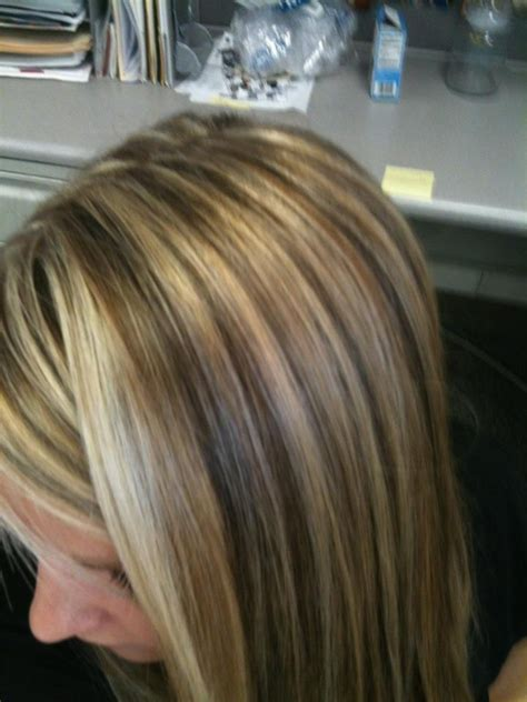 hairstyles with brown copper light brown stripes dimensional highlights white blonde copper and warm