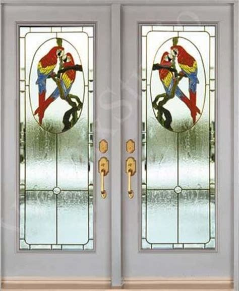 Stained Glass Door Inserts Stained Glass Inserts For Entry Doors Parrot Design Birds Juxtapost