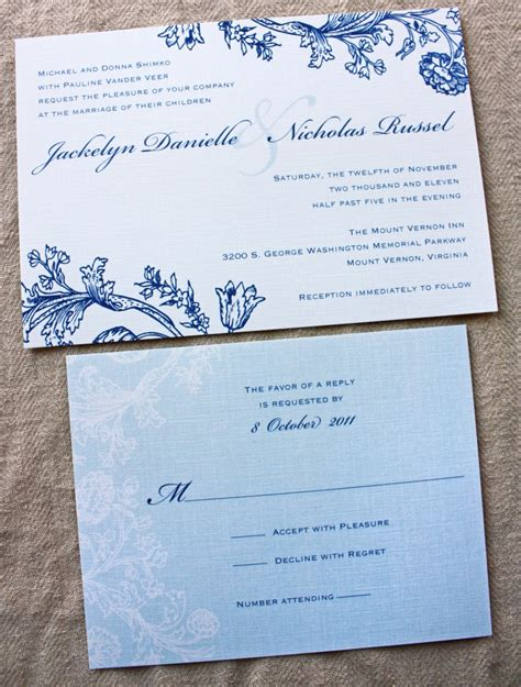 blue wedding invitations vintage navy pale slate blue floral wedding invitations
