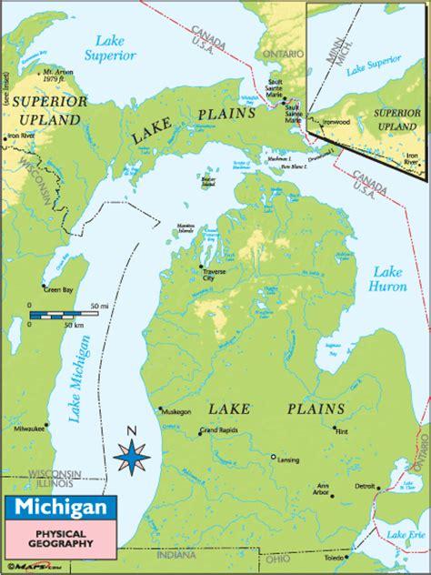 physical map of michigan michigan physical map michigan map