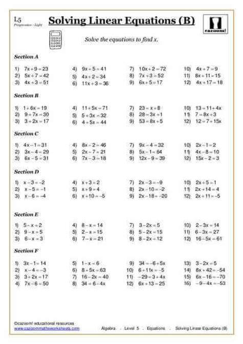 printable worksheets ks2 maths solving equations free printable maths worksheet cazoom