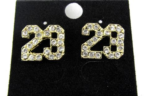 iced out michael 23 jumpman logo hiphop earrings cz
