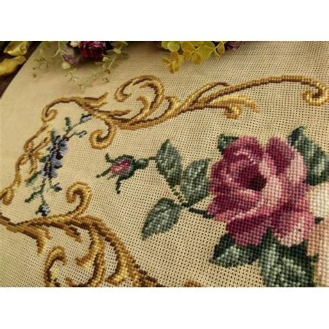 piano bench covers needlepoint 34 quot vintage preworked needlepoint canvas white mauve