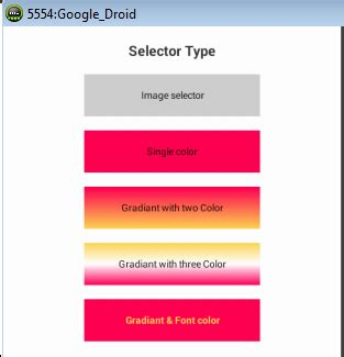 android selector android arsenal create different selectors in android