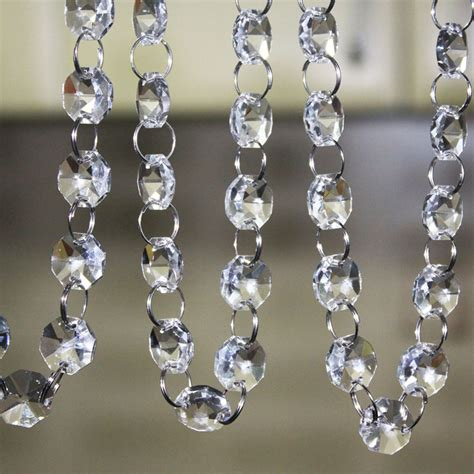 free shipping 33 ft crystal clear acrylic bead garland