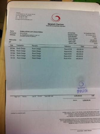 hotel bill picture of claro kendari kendari tripadvisor