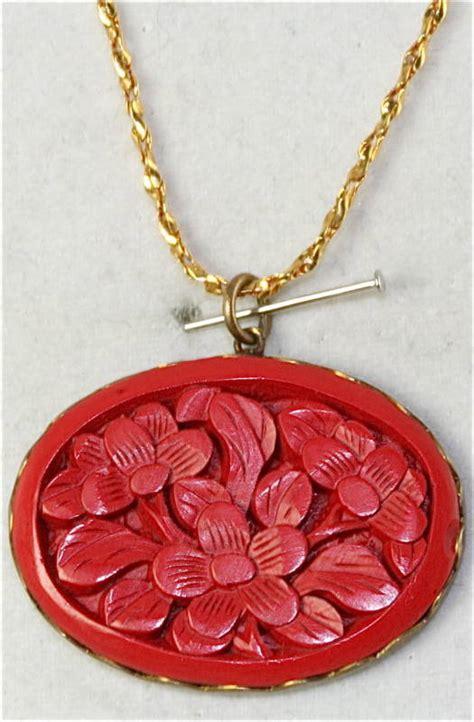 vtg sterling silver vermeil cinnabar necklace ebay
