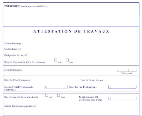 mod 233 le lettre d attestation travaux en document word