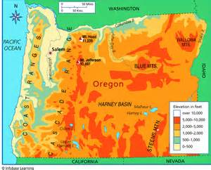 oregon elevation map