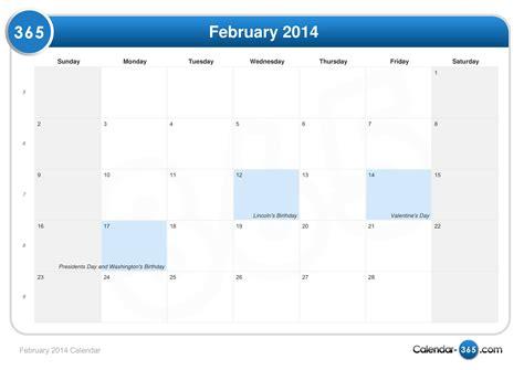 Calendar February 2014 February 2014 Calendar