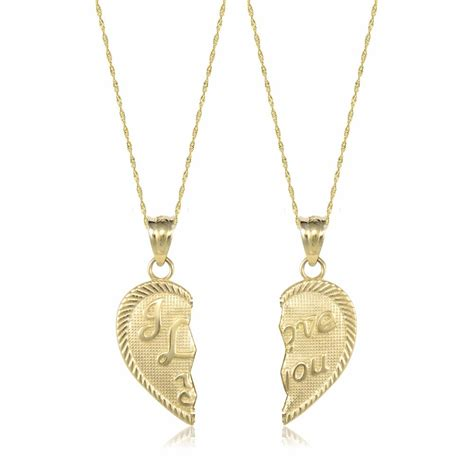 Pendant Necklace Gold With I You 14k solid yellow gold i you half necklace pendant 2 singapore chains ebay