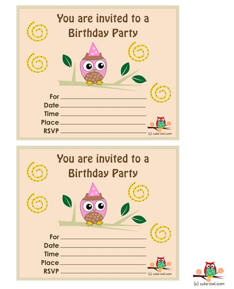 free printable birthday invitations templates for owl birthday invitations template best template