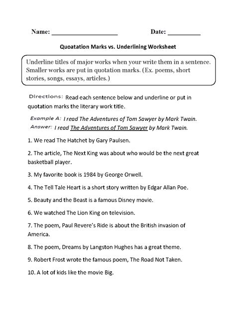 Quotation Marks In Essays by Grammar Mechanics Worksheets Italics And Underlining Worksheets