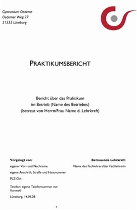Praktikumsbericht Design Vorlage Gymnasium Oedeme L 252 Neburg