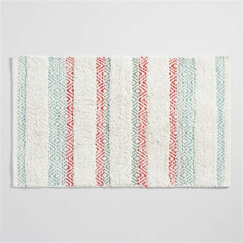 Coral Bath Rugs Coral And Aqua Striped Geometric Shag Bath Mat World Market