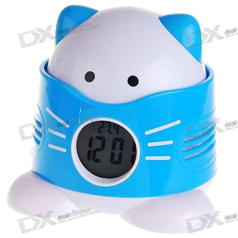 1 quot lcd fragrance releasing talking cat alarm clock with temperature display 3 aaa free