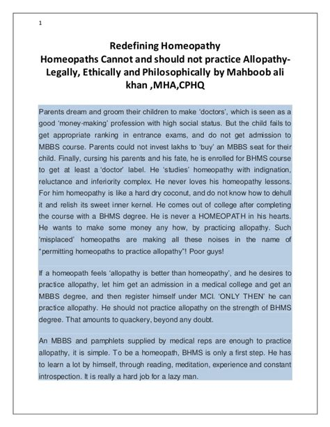Should I Get Mba Or Mha by Homeopaths Cannot And Should Not Practice Allopathy