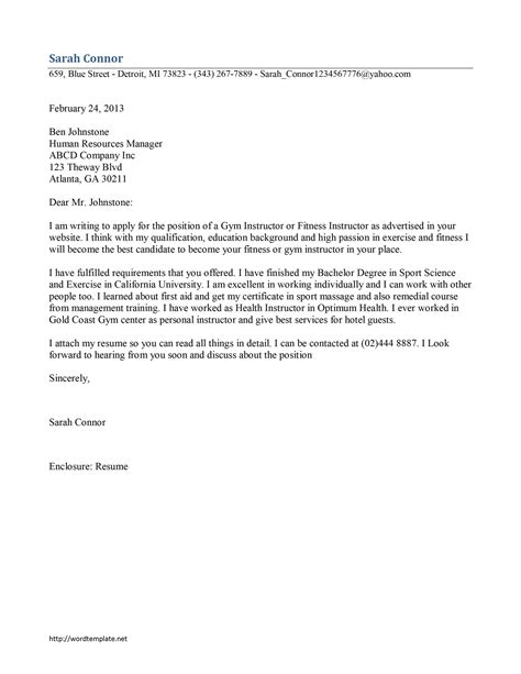 personal trainer cover letter instructor cover letter template free microsoft word