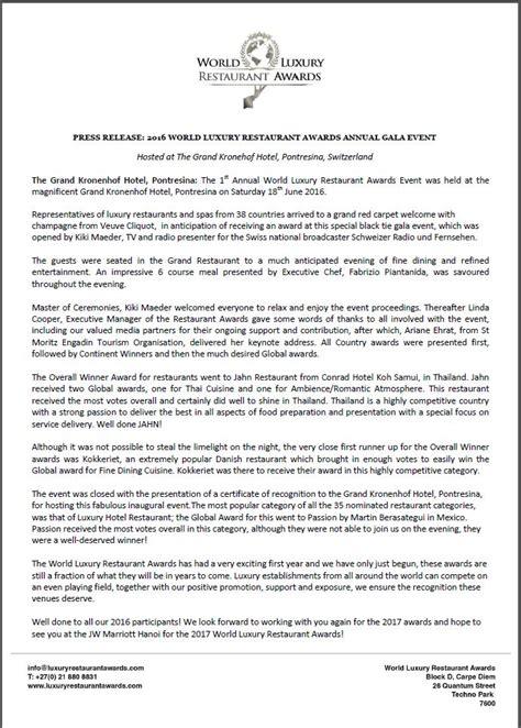 new year restaurant press release world luxury restaurant awards 2016 global award winner