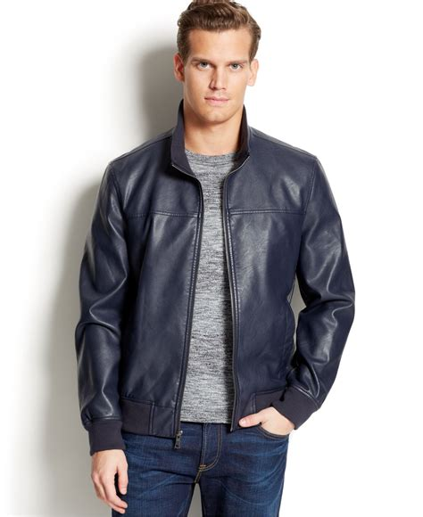 leather bomber jacket hilfiger faux leather bomber jacket in blue for lyst
