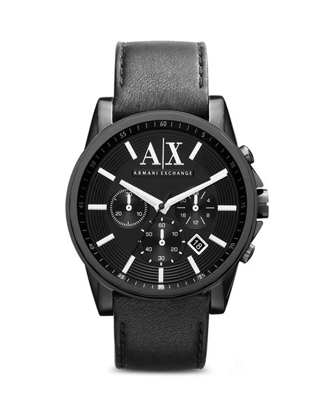 Ax Armani Exchange 1882 Silver Black Leather For armani exchange a x armani exchange leather