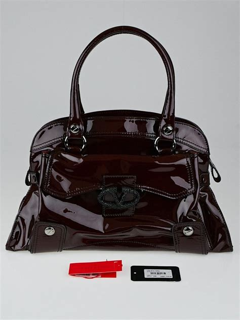 Valentino Patent Leather Lace Satchel by Valentino Garavani Bordeaux Patent Leather And