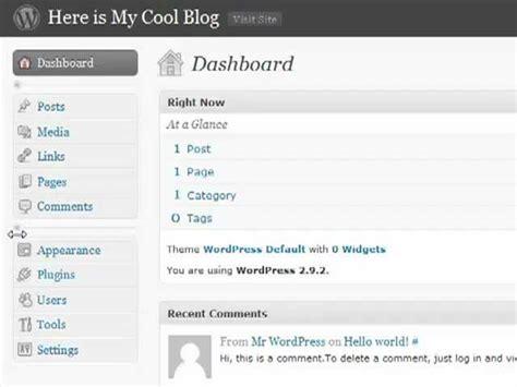 tutorial of wordpress for beginners wordpress tutorial for beginners part 2 dashboard