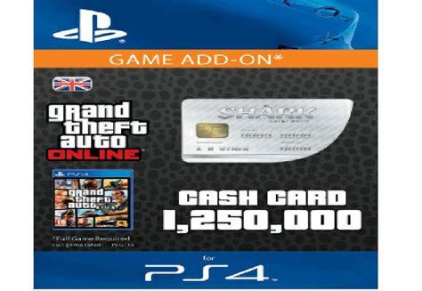 Gta 5 Gift Cards - gta v 5 great white shark cash card 1 250 000 ps4 same day dispatch ebay