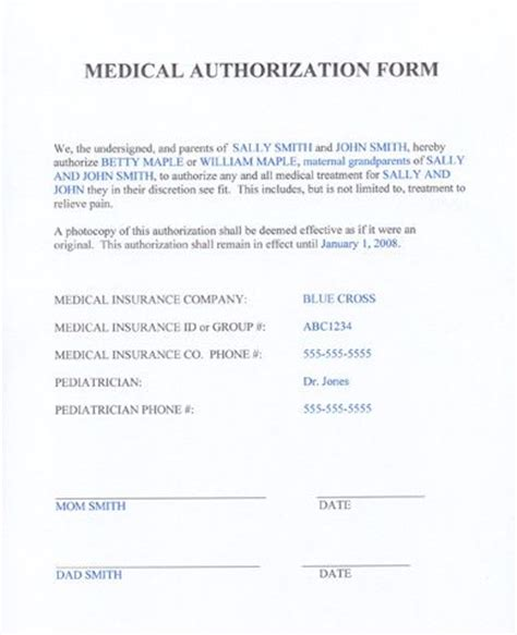 100 medical release form for babysitter template travel
