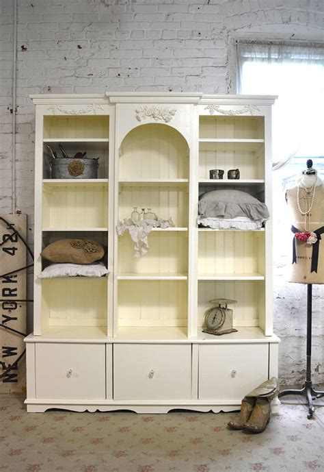 Painted Cottage Chic Shabby White Handmade Bookcase Display White Shabby Chic Bookcase