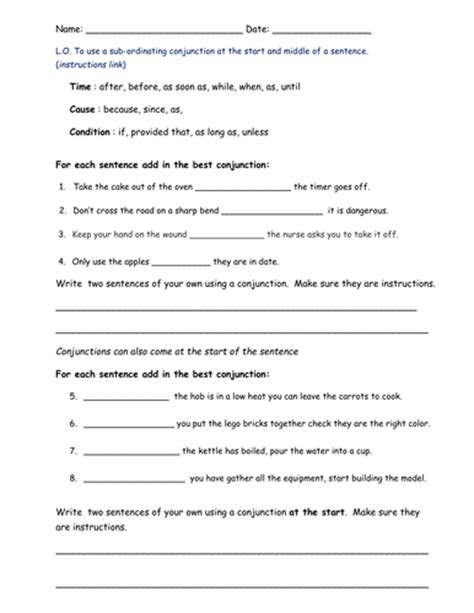 Explanation Letter To Subordinate Subordinating Conjunctions By Bethrob Uk Teaching Resources Tes