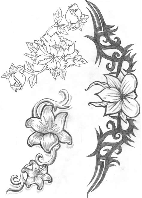 free black and white flower tattoo designs download free
