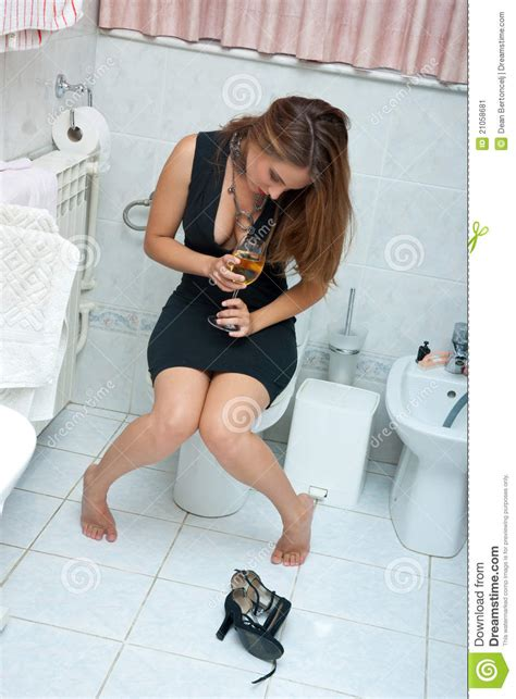 drunk girl in bathroom attractive drunk woman with wine stock image image 21058681