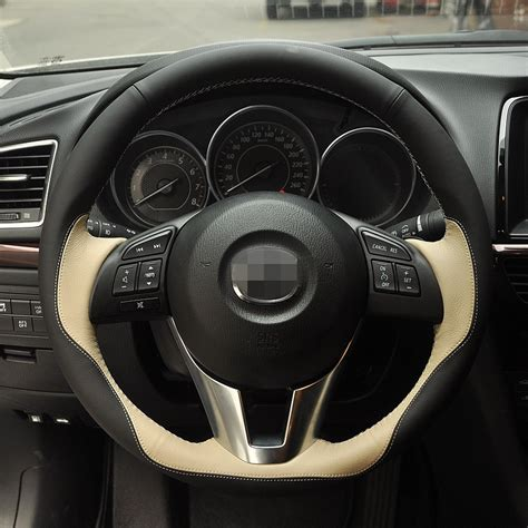 Cover Mazda Cx 6 stitched black beige steering wheel cover for mazda cx 5 cx5 atenza 2014 new mazda 3 cx 3
