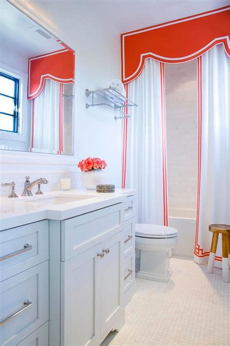 bathroom valance shower with red valance and greek key shower curtains