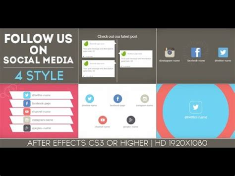 social media caign template after effects templates quot follow us on social media 4 style