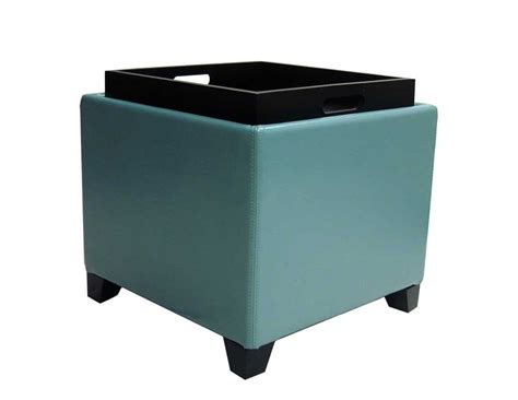 storage ottoman tray armen living contemporary storage ottoman with tray sky
