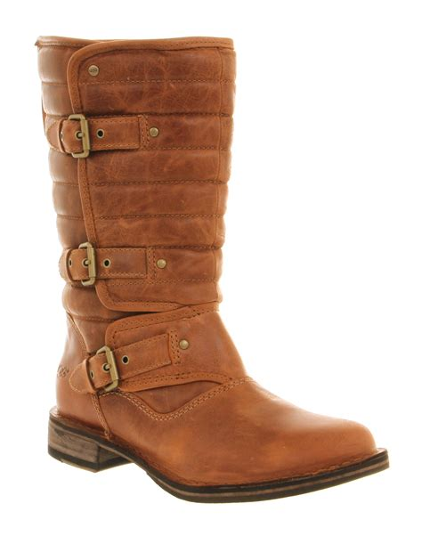 womens ugg brown leather mid calf boots uk size 6 5 ex
