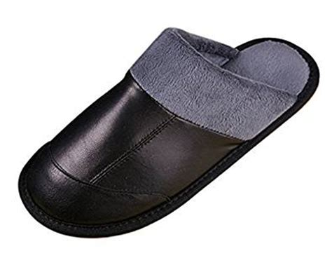 mens bedroom slippers leather amazon com cattior mens fur lined leather slippers
