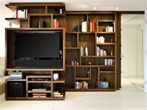 new york city apartment wooden bookcase design opened