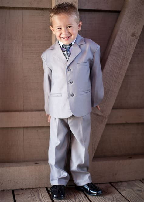 Boys Light Grey 5 Suit