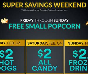 Carmike Cinema Gift Card Promotion - carmike cinemas free small popcorn on sunday free 4 seniors