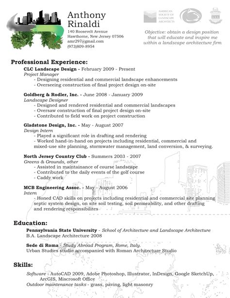 Resume Exles Landscape Architecture Pin Landscape Maintenance Resume Sles On