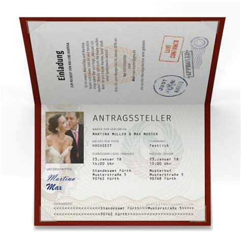 Hochzeitseinladung Passport by Hochzeitseinladungen Als Reisepass Mit Foto Bestellen