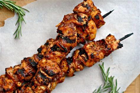 Mustard Glazed Pork Skewers by Garlic Mustard Glazed Chicken Skewers Weekly Menu